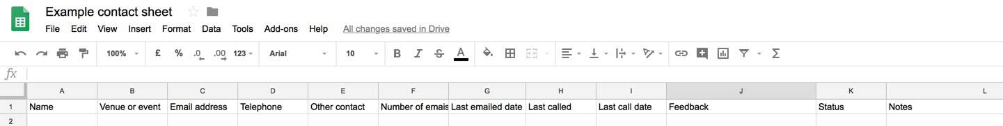 Example contact spreadsheet for marketing