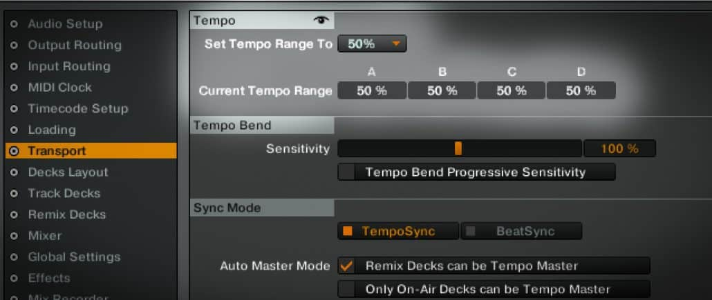 Changing tempo range in Traktor